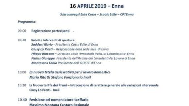 Photo of Le novità normative dell'Inail, convegno martedì 16 alla Cassa edile di Enna