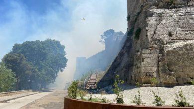 Photo of Vasto incendio alle pendici della Baronessa. Il fuoco arrivato già al museo del Mito